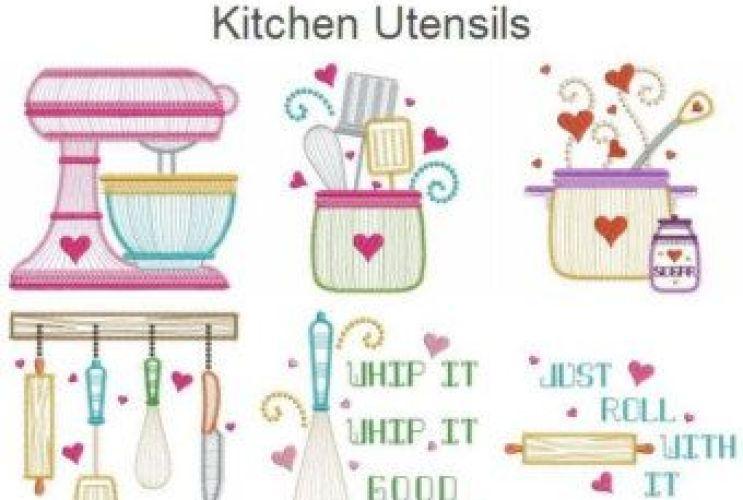 Kitchen Utensils Embroidery Designs Ramekitchen Com