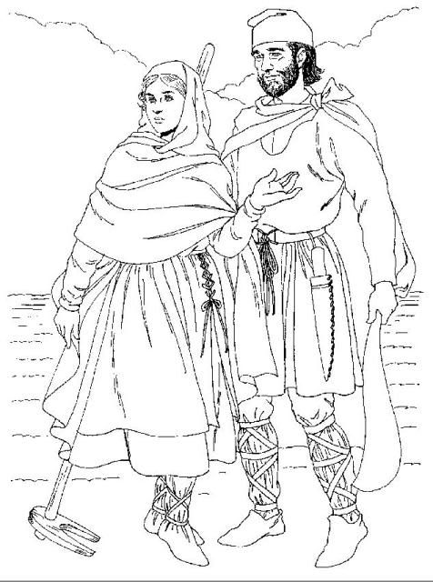 Eleventh-century peasants. Under her cloak, the woman