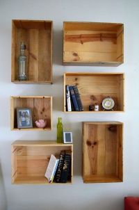Wine Crate Shelves DIY | College Apartment | Pinterest ...