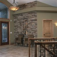 Like the stone, paint color and light fixture, hmmm oak