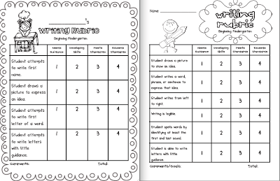 Kindergarten Writing Rubrics: basic rubric that skims the