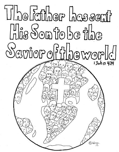 Coloring Pages for Kids by Mr. Adron: 1 John 4:14 Print