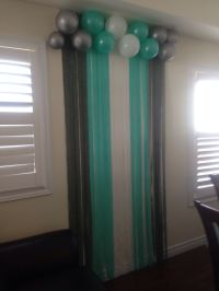 Tiffany blue back drop at baby shower.   Baby Shower Ideas ...