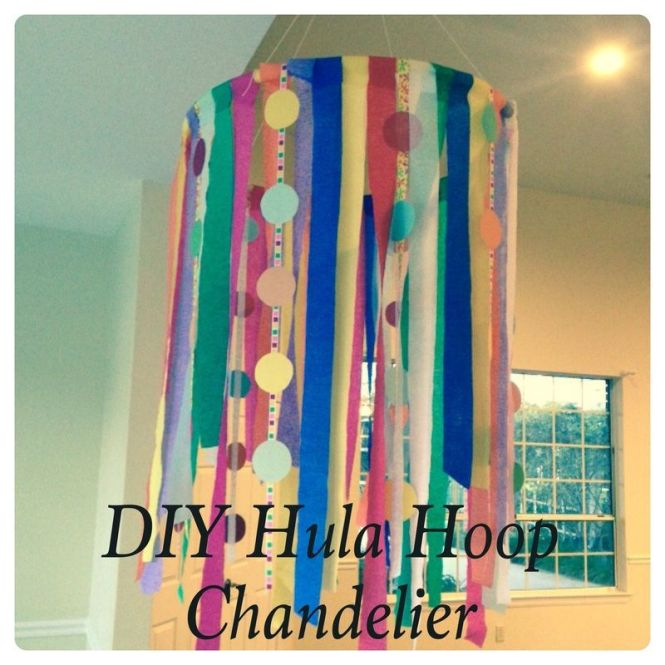 I First Tied Four Pieces Of String To My Hula Hoop And Hung It Loosely From Dining Room Chandelier So Could Attach The Streamers Ribbon