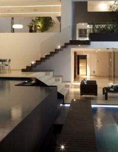 Gorgeous home design loving the staircase with glass which compliments water features beautifully casa del agua by almazan arquitectos asociados also spacious da crib pinterest rh