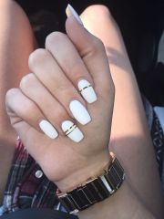 white matte with gold foil nails