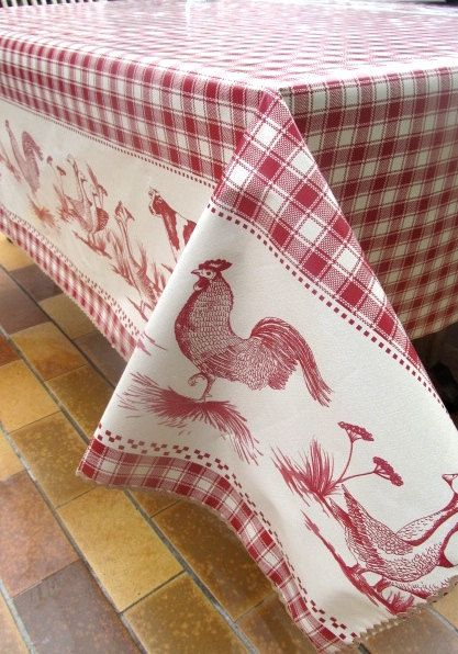 french country kitchen chair pads tabouret stacking chairs red check tablecloth, rooster oilcloth, farmyard animals custom tablecloth ...