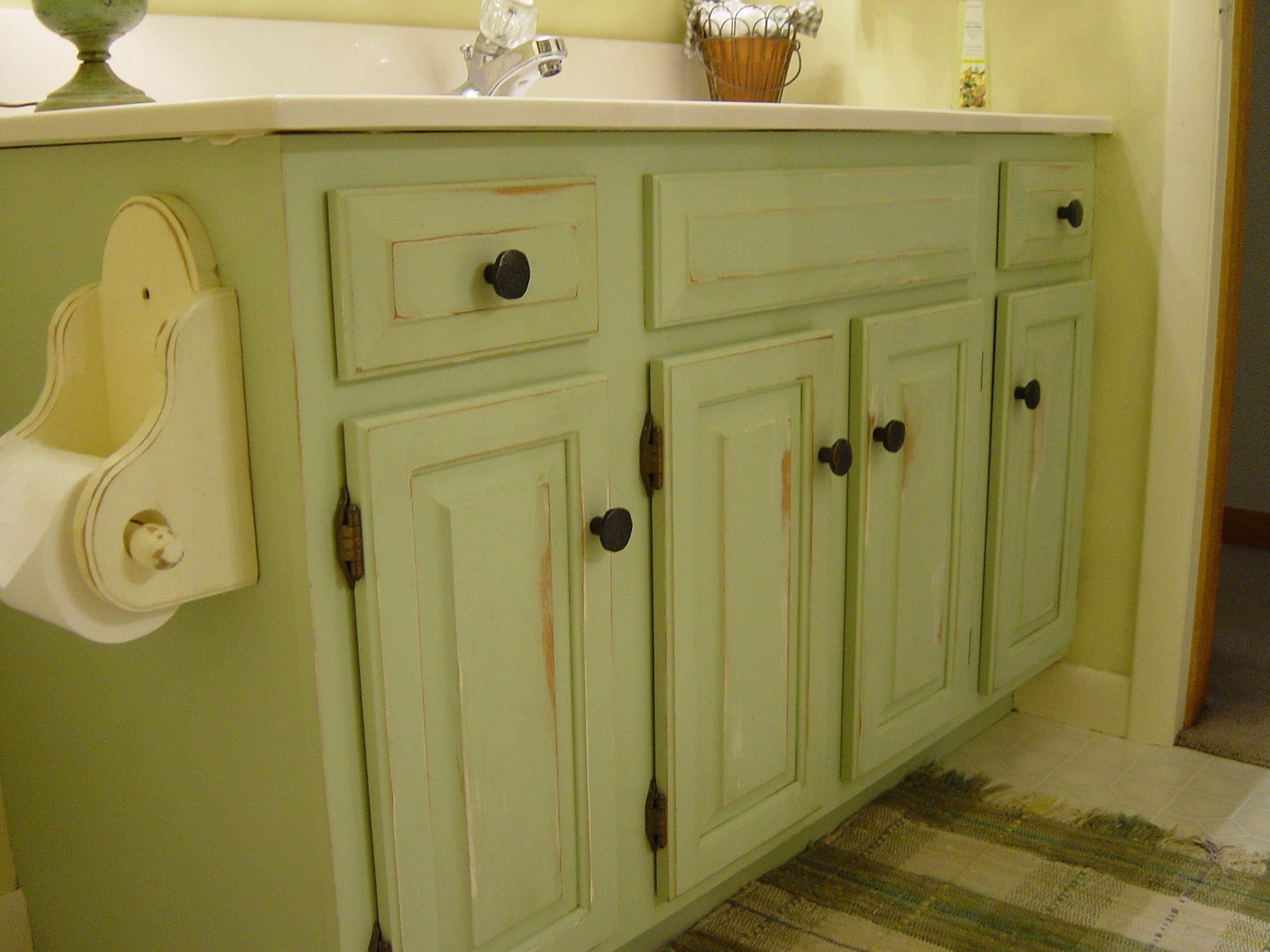 repainted and distressed bathroom vanity  my style  home