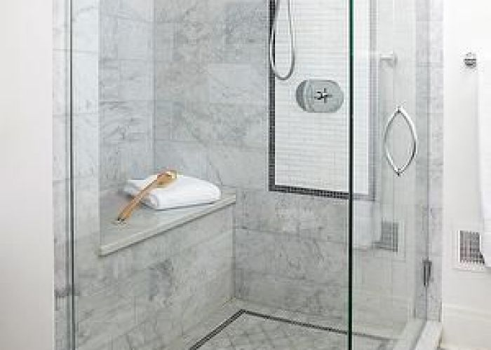Bhg bathrooms seamless glass shower bench marble tiles surround also