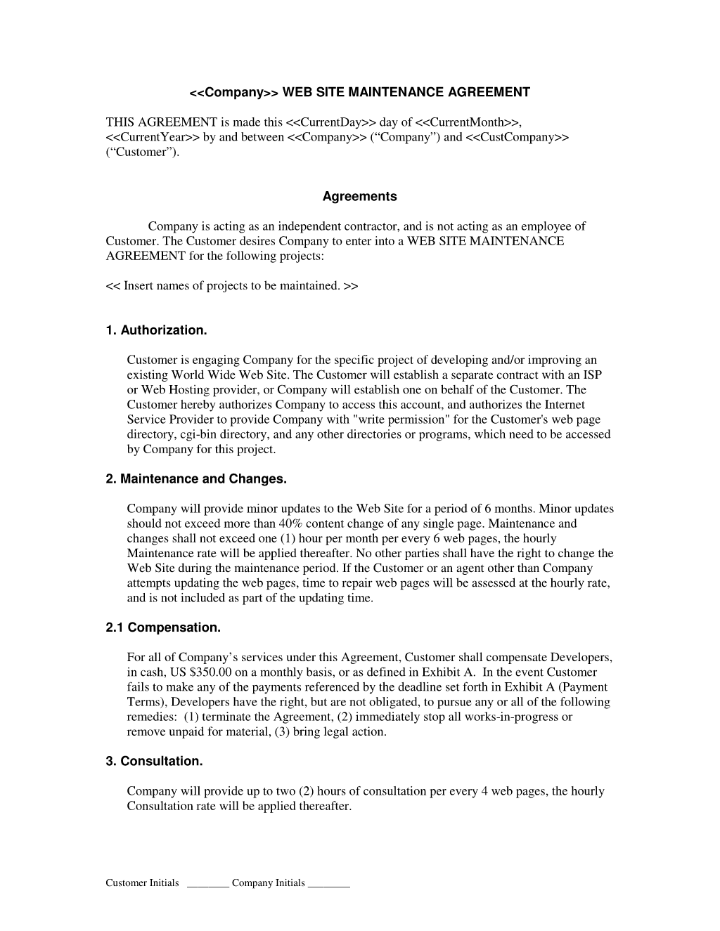 Web Site Maintenance Contract Web Development Contracts