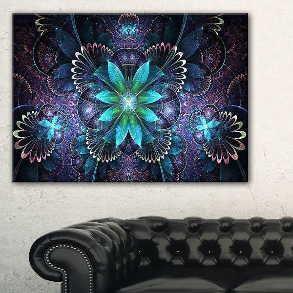 Fractal Flower Blue Digital Art - Large Canvas Wall Design