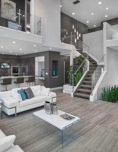 Open floor plan is the way to go concept living room  kitchen with gray walls hardwood floors flawlessly placed blue and green accents bring  also casas minimalistas tonos grises sofa blanco dos plantas elementos de rh pinterest