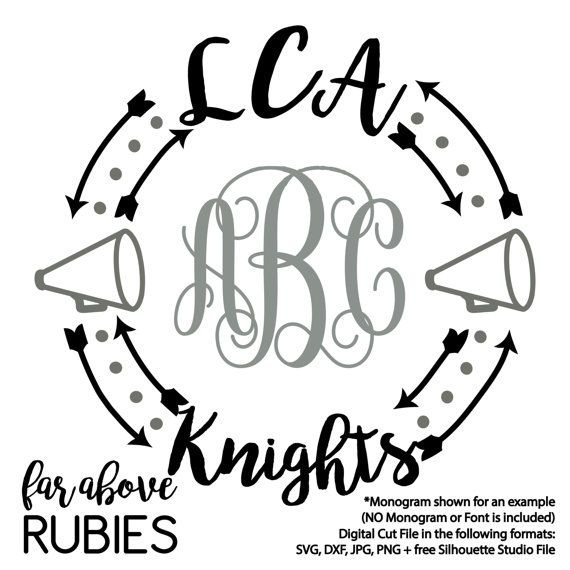LCA Knights Cheer Megaphone Monogram Wreath Arrows