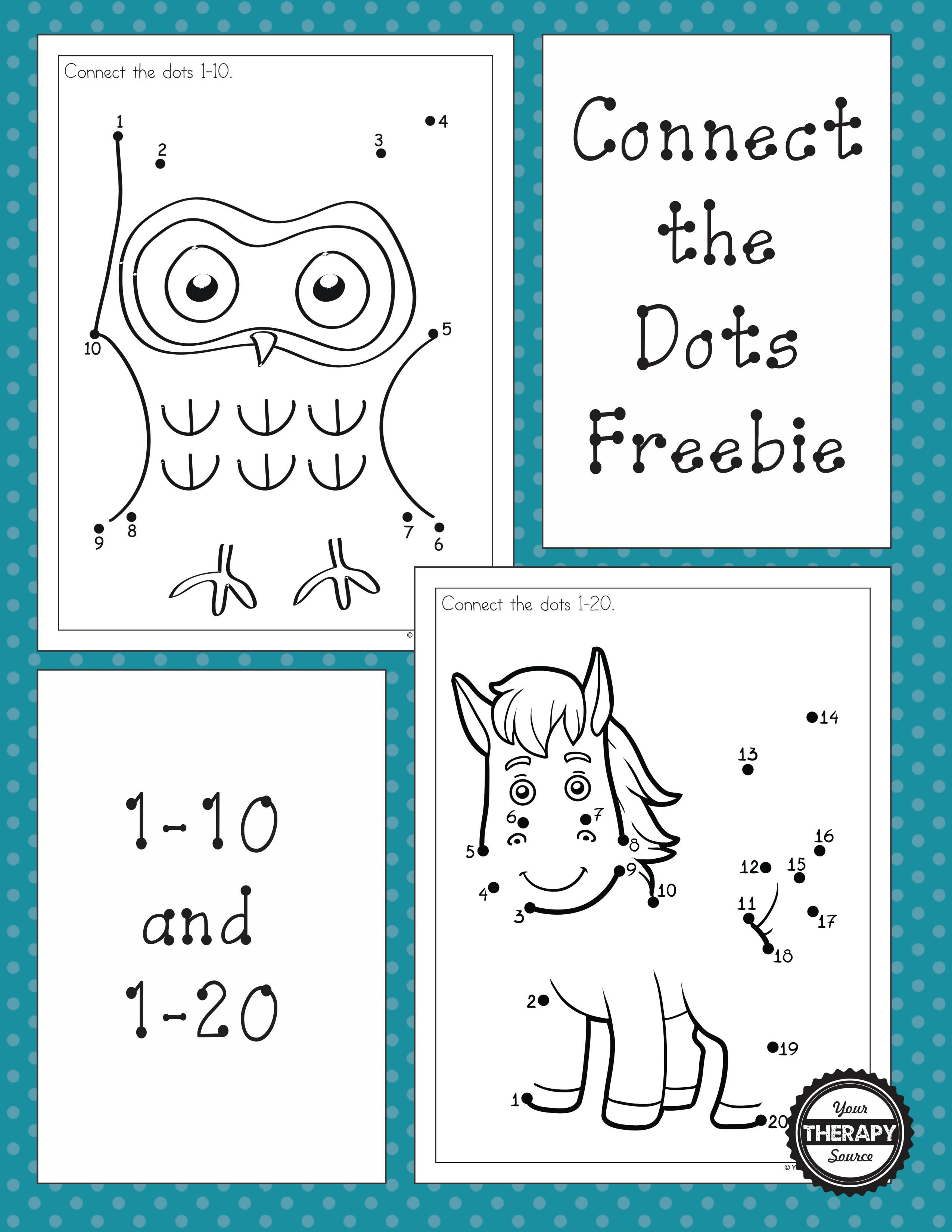 Dot To Dot Freebies For Numbers 1 10 And 1 20 These