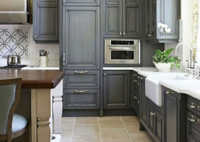 Like the gray painted cabinet look great alternative paint color for cabinets instead of painting them white black or staining interior design designs also grey kitchen home my favorite