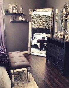 Beautiful bedroom decor black dresser silver mirror candles and white also our home ideas pinterest bedrooms romantic room rh