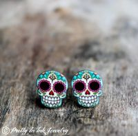 Candy Color Stud Earrings   Sugar skulls, Sugaring and Etsy