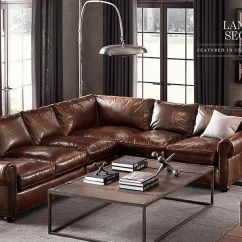 Rh Lancaster Leather Sofa With Stainless Steel Legs Rooms | Restoration Hardware Hobbs Family Room ...