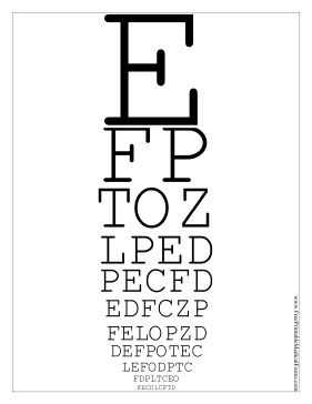 This printable Snellen eye chart has 11 lines of letters