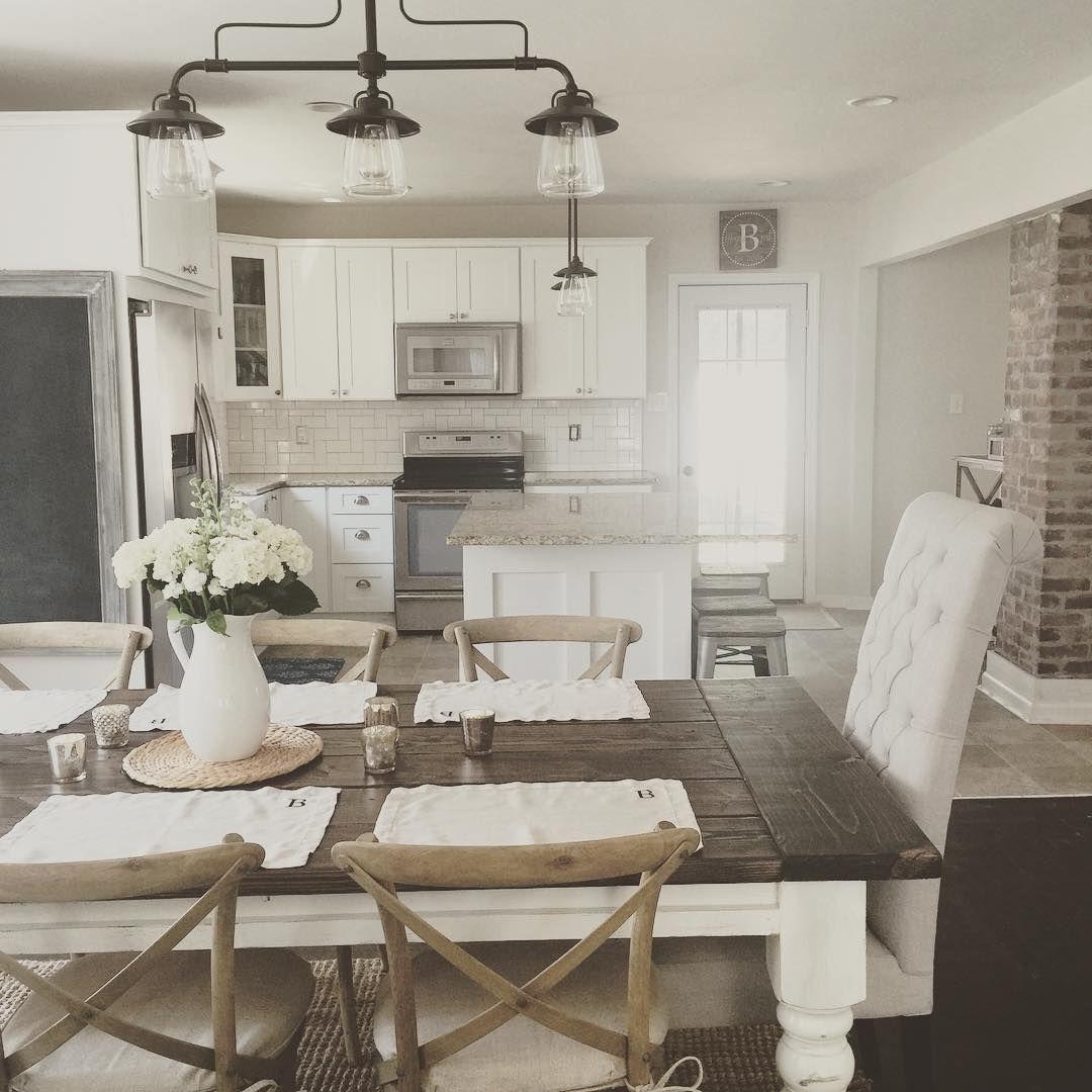 Rustic Modern Farmhouse With Farmhouse Table With A Wood