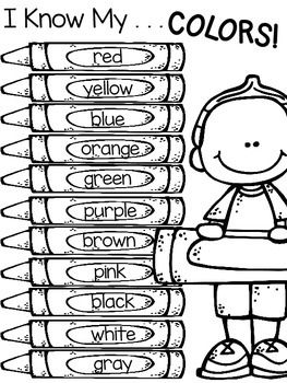 Color word activities: FREE boy and girl color word