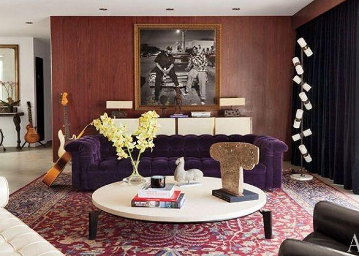 Persian carpet celebrity homes adam lavine living room love the sofa dunbar in mohair velvet also