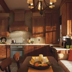 Rustic Hickory Kitchen Cabinets Custom Tables The Warmth Of Homecrest 39s Dover In Terrain
