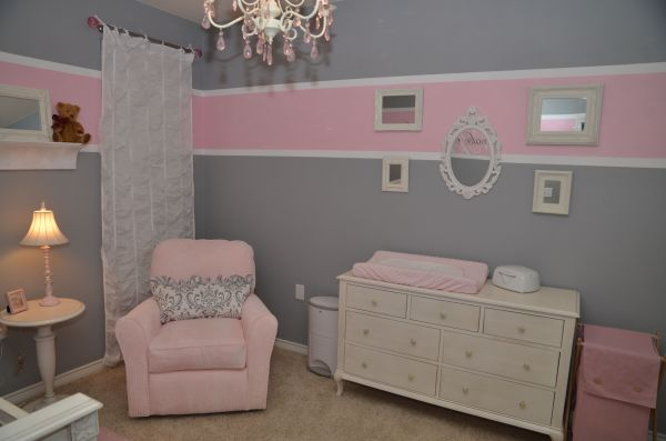 Pink and Grey Baby Room