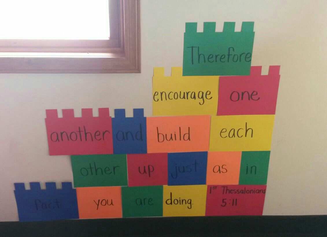 1 thessalonians 5:11 Lego curriculum decorations