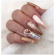 rose gold coffin nails fashion