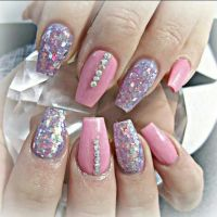 Girly coffin shaped acrylic nails | Nails | Pinterest ...