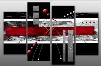 Large Red Black Grey Abstract Canvas Picture Wall Art ...
