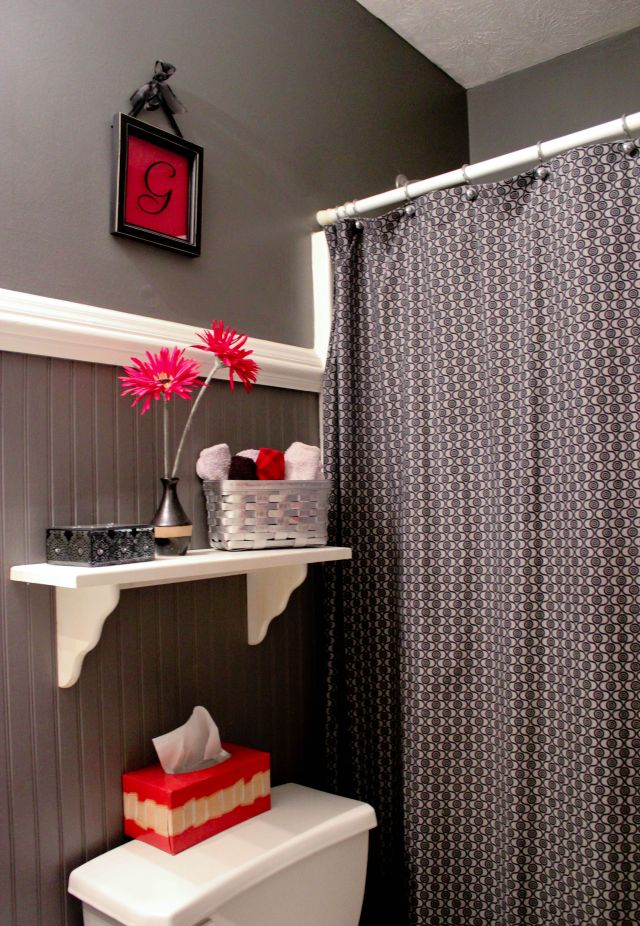 Gray black and red bathroom Bathroom ideas Pinterest