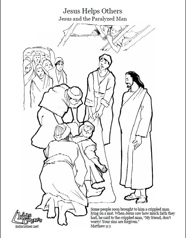 Jesus Heals- coloring page, audio Bible story and script