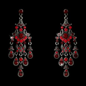 Black Rhodium Vintage Red Chandelier Earring E 7595
