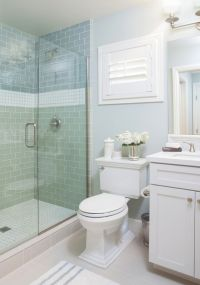 coastal bathroom with aqua blue subway tile | AGK Design ...