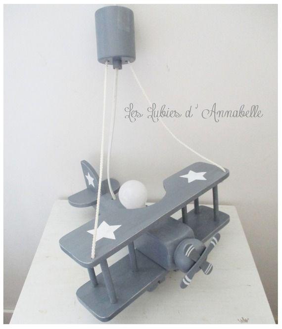 Luminaire Avion gris et toiles blanches Luminaire chambre enfant Suspension Avion  Chambre