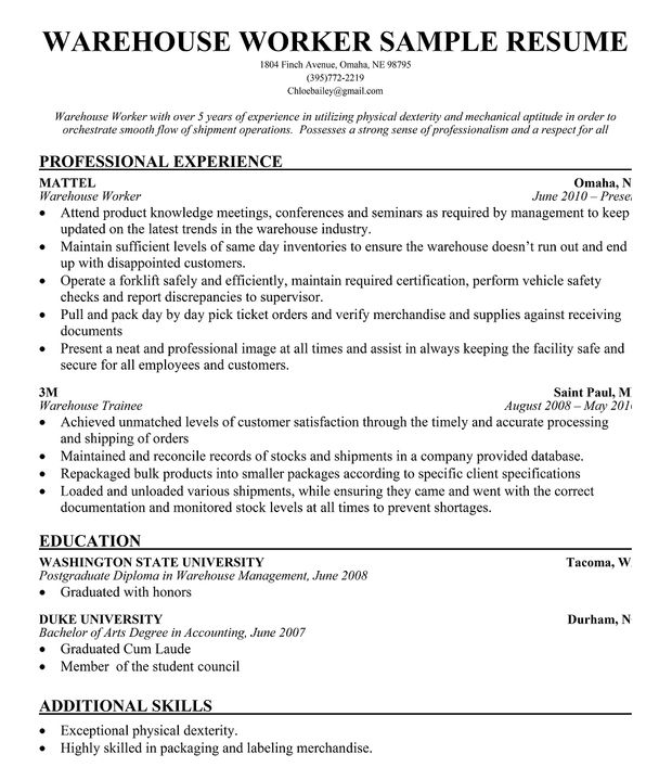Warehouse Worker Resume Sample Resume Companion Simply Great