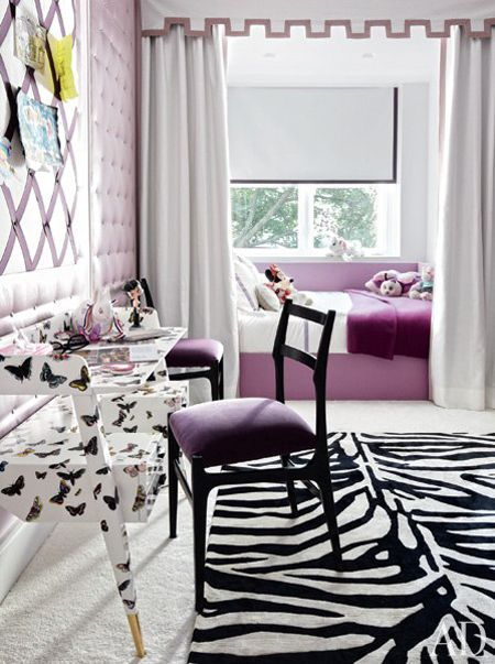 Girl teen decor the tufted purple wall and curtains framing bed provide luxury to this feminine bedroom while butterfly desk zebra rug offer also fabulous room ideas for girls princess pinterest rh