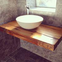 Our floating bathroom shelf with vessel bowl sink ...