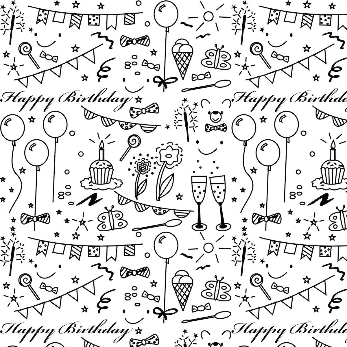Today I Created A Free Printable Birthday Pattern In Black