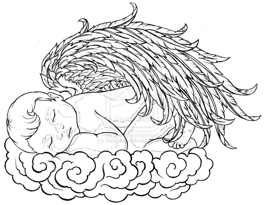 Baby Angel Sleeping On A Cloud Tattoo By Metacharis On