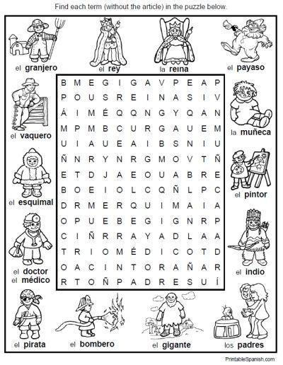 spanish vocabulary worksheet people jobs professions word