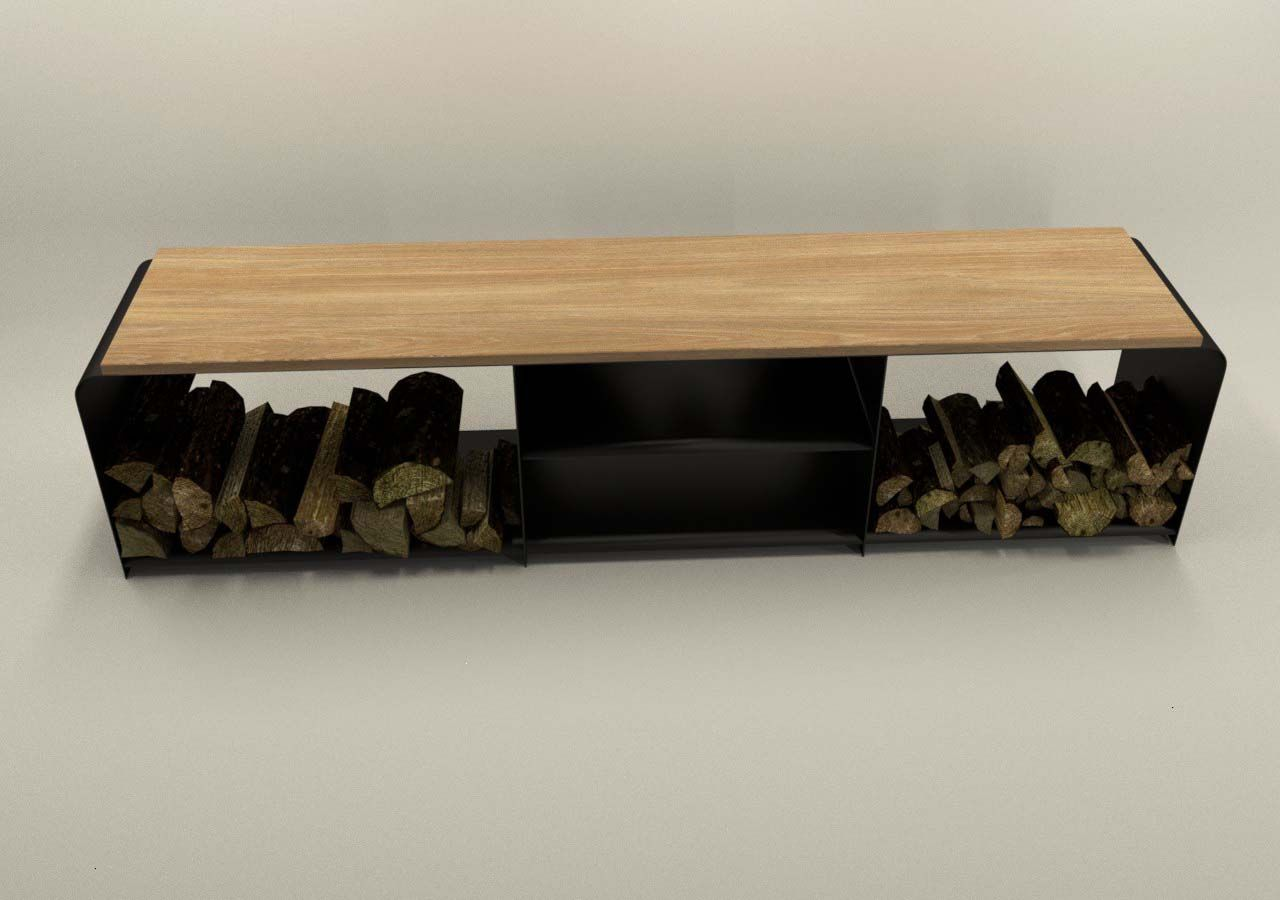 Design Metallmoebel TVSideboard Mehrzweck KaminholzAufbewahrung aus Stahl schwarz Massivholz