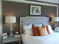 Love the grey paint, white quilt & orange accents ~ Master ...
