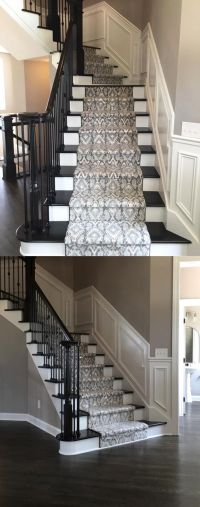 Beautiful Patterned Stair Runner on Dark Stained Stairs ...