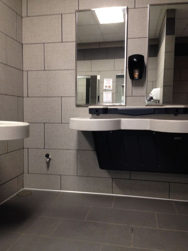 Daltile Exhibition Series Ex10 Fray 12x24 Walls With Ex04 Dark Gray Unpolished Finish