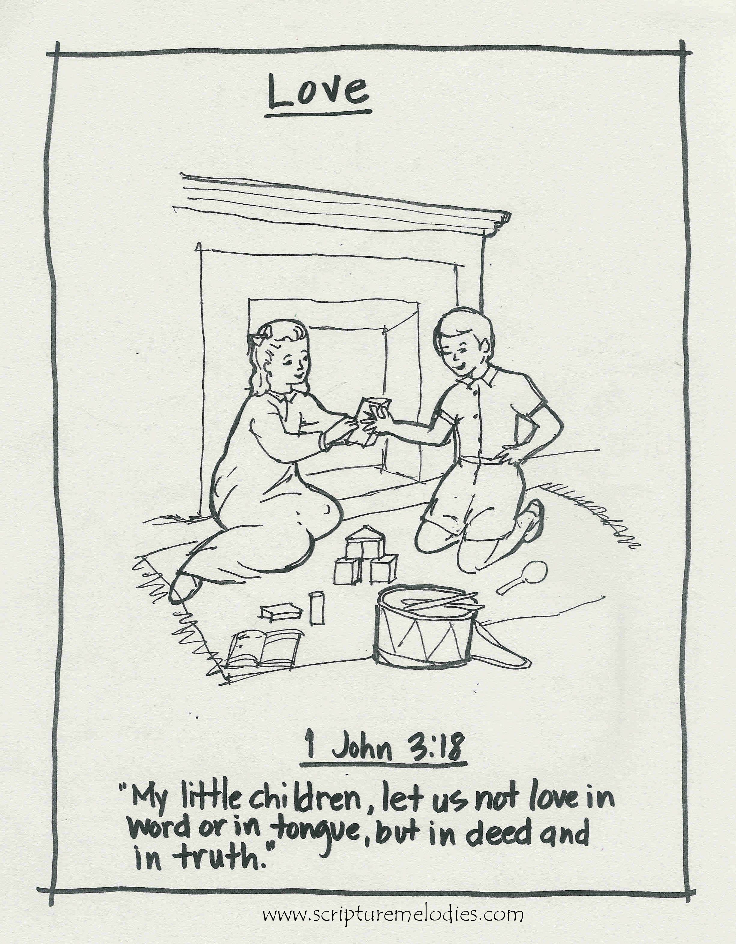 1 John 3:18 coloring page ~ More free coloring pages at