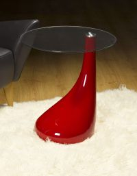 Side Table / End Table / Lamp Table Round , Red Gloss ...