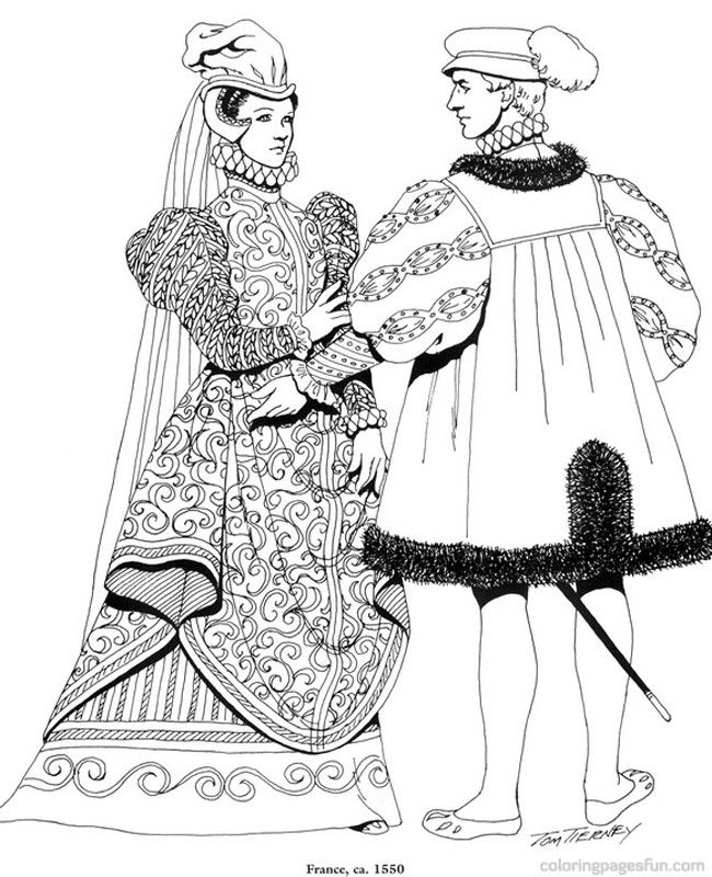 Renaissance Costumes and Clothing Coloring Pages 38